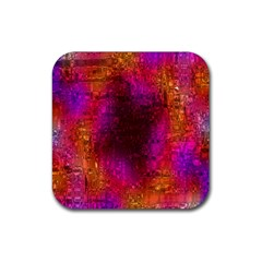 Purple Orange Pink Colorful Rubber Square Coaster (4 pack)
