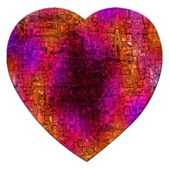 Purple Orange Pink Colorful Jigsaw Puzzle (Heart)