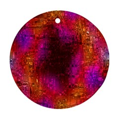 Purple Orange Pink Colorful Round Ornament (Two Sides)