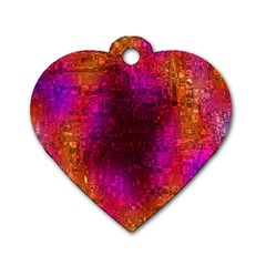 Purple Orange Pink Colorful Dog Tag Heart (Two Sides)