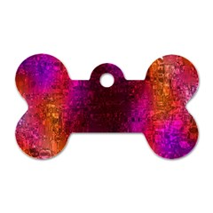 Purple Orange Pink Colorful Dog Tag Bone (Two Sides)