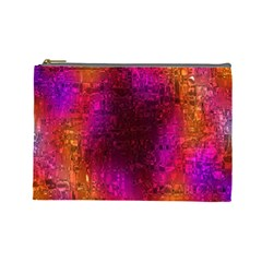Purple Orange Pink Colorful Cosmetic Bag (Large)