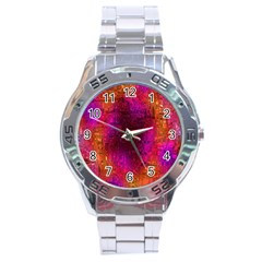 Purple Orange Pink Colorful Stainless Steel Analogue Watch