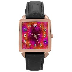 Purple Orange Pink Colorful Rose Gold Leather Watch