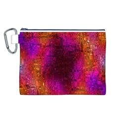Purple Orange Pink Colorful Canvas Cosmetic Bag (L)