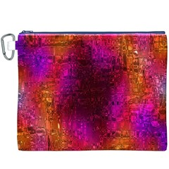 Purple Orange Pink Colorful Canvas Cosmetic Bag (XXXL)