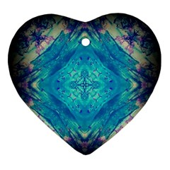 Boho Hippie Tie Dye Retro Seventies Blue Violet Ornament (Heart)
