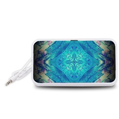 Boho Hippie Tie Dye Retro Seventies Blue Violet Portable Speaker (White)