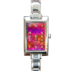 Purple Orange Pink Colorful Art Rectangle Italian Charm Watch