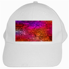 Purple Orange Pink Colorful Art White Cap
