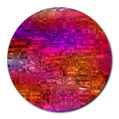 Purple Orange Pink Colorful Art Round Mousepads