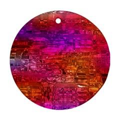 Purple Orange Pink Colorful Art Ornament (Round)
