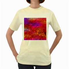 Purple Orange Pink Colorful Art Women s Yellow T-Shirt