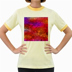 Purple Orange Pink Colorful Art Women s Fitted Ringer T-Shirts