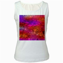 Purple Orange Pink Colorful Art Women s White Tank Top