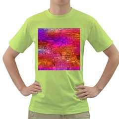 Purple Orange Pink Colorful Art Green T-Shirt
