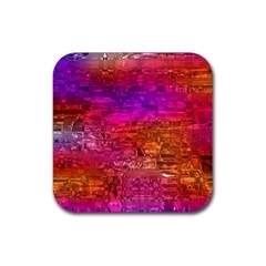 Purple Orange Pink Colorful Art Rubber Coaster (Square)