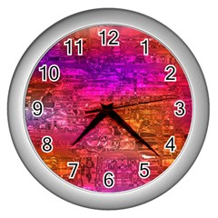 Purple Orange Pink Colorful Art Wall Clocks (Silver)