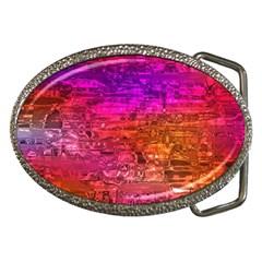 Purple Orange Pink Colorful Art Belt Buckles