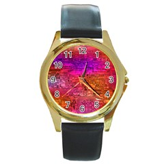 Purple Orange Pink Colorful Art Round Gold Metal Watch
