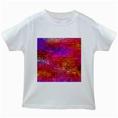Purple Orange Pink Colorful Art Kids White T-Shirts