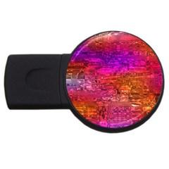 Purple Orange Pink Colorful Art USB Flash Drive Round (2 GB)