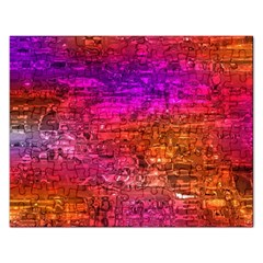 Purple Orange Pink Colorful Art Rectangular Jigsaw Puzzl