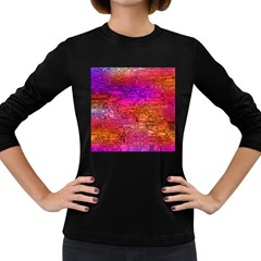 Purple Orange Pink Colorful Art Women s Long Sleeve Dark T-Shirts