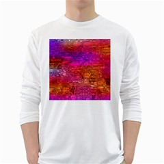 Purple Orange Pink Colorful Art White Long Sleeve T-Shirts