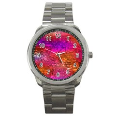 Purple Orange Pink Colorful Art Sport Metal Watch