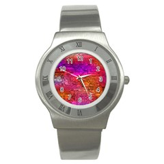 Purple Orange Pink Colorful Art Stainless Steel Watch