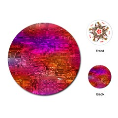 Purple Orange Pink Colorful Art Playing Cards (Round)