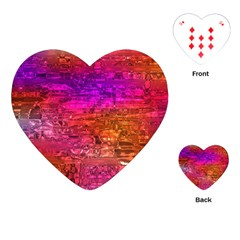 Purple Orange Pink Colorful Art Playing Cards (Heart)