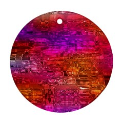 Purple Orange Pink Colorful Art Round Ornament (Two Sides)