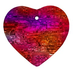 Purple Orange Pink Colorful Art Heart Ornament (2 Sides)