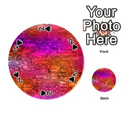 Purple Orange Pink Colorful Art Playing Cards 54 (Round)