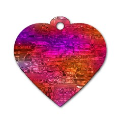 Purple Orange Pink Colorful Art Dog Tag Heart (Two Sides)