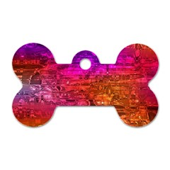 Purple Orange Pink Colorful Art Dog Tag Bone (Two Sides)