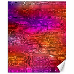 Purple Orange Pink Colorful Art Canvas 11  x 14