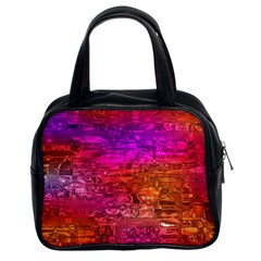 Purple Orange Pink Colorful Art Classic Handbags (2 Sides)