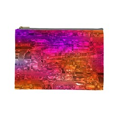 Purple Orange Pink Colorful Art Cosmetic Bag (Large)