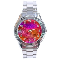 Purple Orange Pink Colorful Art Stainless Steel Analogue Watch