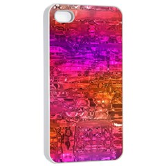 Purple Orange Pink Colorful Art Apple iPhone 4/4s Seamless Case (White)