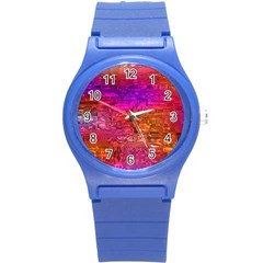 Purple Orange Pink Colorful Art Round Plastic Sport Watch (S)