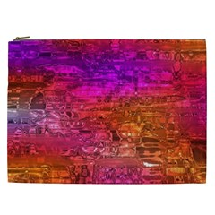 Purple Orange Pink Colorful Art Cosmetic Bag (XXL)