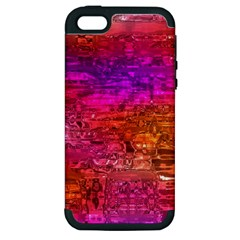 Purple Orange Pink Colorful Art Apple iPhone 5 Hardshell Case (PC+Silicone)