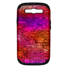 Purple Orange Pink Colorful Art Samsung Galaxy S III Hardshell Case (PC+Silicone)