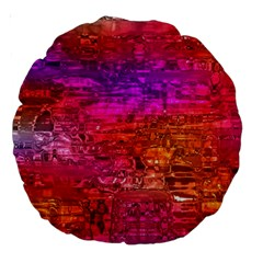 Purple Orange Pink Colorful Art Large 18  Premium Round Cushions