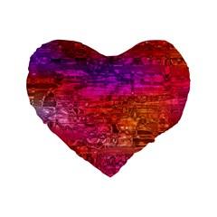 Purple Orange Pink Colorful Art Standard 16  Premium Heart Shape Cushions