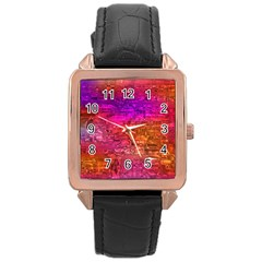 Purple Orange Pink Colorful Art Rose Gold Leather Watch